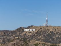 Det berömda hollywood tecknet royaltyfria foton