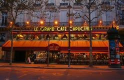Det berömda kafét Capucines nära operahuset, Paris, Frankrike Arkivbild