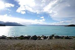 Det berömt mjölkar sjön av WANAKA NZ fotografering för bildbyråer