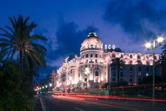 Det berömda hotellet för El Negresco i Nice, Frankrike Fotografering för Bildbyråer