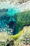 Det blåa ögat i Albanien, berömd gränsmärkevattenvår och naturligt fenomen royaltyfria bilder