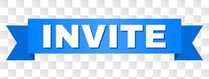 Det blåa bandet med INVITERAR text stock illustrationer