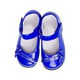 det blåa barnet shoes white Royaltyfria Bilder