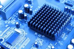 det blåa datormoderkortet tonade Royaltyfri Bild