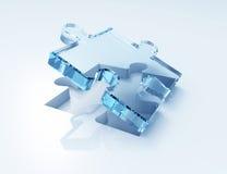 Det blåa glass pusslet 3d framför Fotografering för Bildbyråer