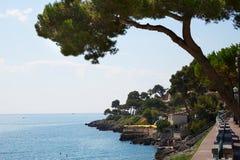 Det blåa havet av den franska riviera kusten med maritimt sörjer royaltyfri bild