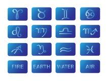 det blåa horoskopet undertecknar symbolvektorzodiac Arkivbilder