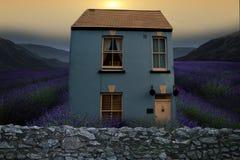Det blåa huset bak väggen Arkivfoto