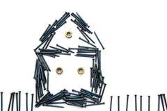 det blåa huset för construct f spikar stålfönster arkivfoton