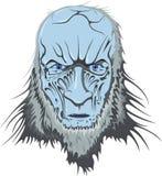 Det blåa huvudet av en levande död med en iskall blick royaltyfri illustrationer