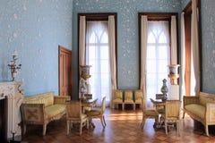 Det blåa rummet i den Vorontsov slotten arkivfoton