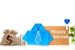 det blåa skjortapapperet för blå origami med den vita handteckningsnecktien Royaltyfria Foton