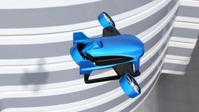Det blåa VTOL surret flyger över huvudvägen till leveranspackar arkivfilmer