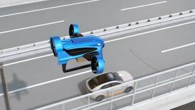 Det blåa VTOL surret flyger över huvudvägen till leveranspackar stock video