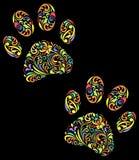 det blom- djuret tafsar trycket på svart bakgrund Arkivbilder