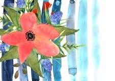 Det blom- hälsningkortet med färgrika blommor och blått river av utdraget Royaltyfria Bilder