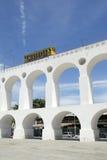 Det Bonde spårvagndrevet på Arcos da Lapa välva sig Rio de Janeiro Brazil Arkivfoto