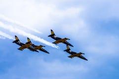 _ Det Borovaya flygfältet 22 Juni 2014 Aerobatic lag royaltyfria foton