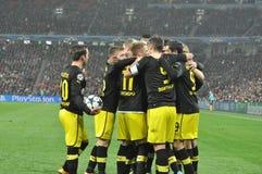 Det Borusia Dortmund laget firar målet Royaltyfri Bild