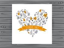 Det botaniska kortet med tackar dig meddelandet Royaltyfri Bild