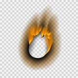 Det brända stycket brände illustrationen för vektorn för askaen för det urblekta pappers- för brandflamman för hålet realistiska