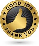 Det bra jobbet tackar dig den guld- etiketten med tummen upp, vektorillustratien Royaltyfri Bild