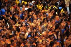 : Det brasilianska folket firar karneval för Salvadorde Bahia i Brazi Arkivfoton
