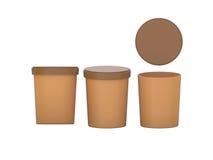 Det bruna mellanrumet badar den plast- behållaren för mat som förpackar med urklippet Arkivfoton