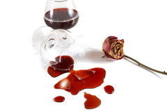 Det brutna exponeringsglaset med wine och en torr ro Royaltyfria Foton