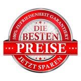 Det bästa priset, sparar nu Garanterad tillfredsställelse - tysk symbol Arkivbild