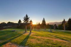 Det Burnaby berget parkerar solnedgång Arkivbild