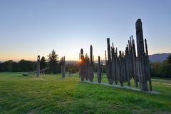 Det Burnaby berget parkerar solnedgång Arkivfoton