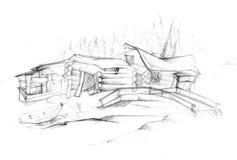 det byggande grungy huset loan gammalt trä Arkivbild