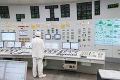 Det centrala kontrollrummet av kärnkraftverket Fotografering för Bildbyråer