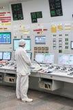 Det centrala kontrollrummet av kärnkraftverket Arkivbild