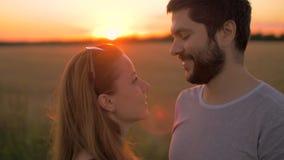 Det charmiga barnet kopplar ihop att kyssa i vetefält på solnedgången arkivfilmer