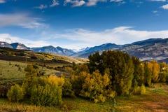 Det Cimarron området av berg som visar Autumn Color Arkivfoto