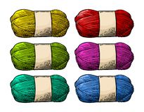 Det color roll yarn with woolen thread knitting. Vintage engraving. Det color roll yarn with woolen thread for knitting. Hand drawn in a graphic style. Vintage Stock Images