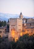 Det Comares tornet på solnedgången, Granada, Spanien Arkivfoton
