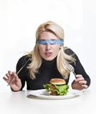 Det concept. Concept of diet for girl on white background Royalty Free Stock Photo