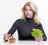 Det concept. Concept of diet for girl on white background Stock Photo