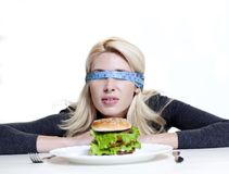 Det concept. Concept of diet for girl on white background Royalty Free Stock Image