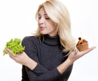 Det concept. Concept of diet for girl on white background Royalty Free Stock Photography