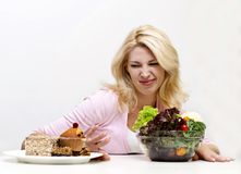 Det concept. Concept of diet for girl on white background Stock Photography