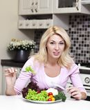 Det concept. Concept of diet for girl on white background Royalty Free Stock Photos