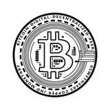 Det Crypto valutasvartmyntet med svart lackered bitcoinsymbol på avers som isolerades på vit bakgrund vektor royaltyfri illustrationer