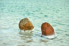 Det döda havet, är saltar sjön som gränsar Jordanien till norden och Israel till det västra royaltyfria foton
