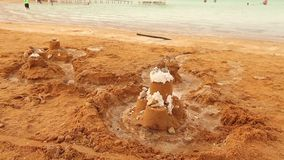 Det döda havet, den Israel Beautiful panoramautsikten av det döda havet, saltar insättningar lager videofilmer