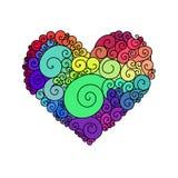 Det dekorativa kortet för hälsningen för StValentine ` s med blom- hjärta för färgrik zentangle skissar Vektorhjärtaillustration  Royaltyfria Bilder