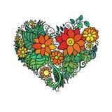 Det dekorativa kortet för hälsningen för StValentine ` s med blom- hjärta för färgrik zentangle skissar Vektorhjärtaillustration  Arkivbild